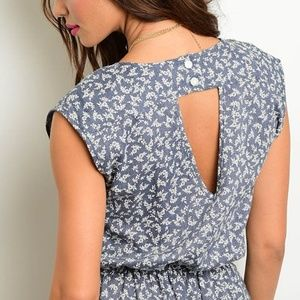 Pants - Last 3!! Chambray Indigo Floral Cinched Romper